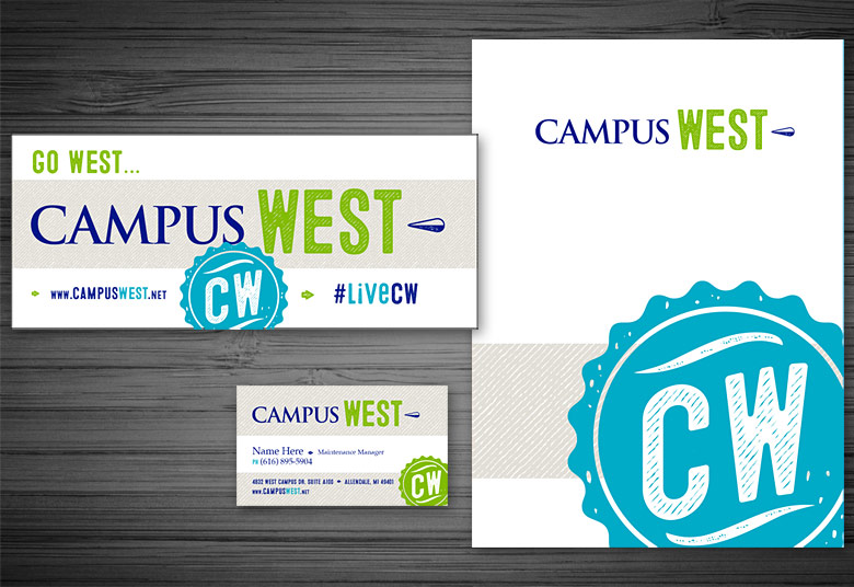 Campus West Folder, Business Card, and Sign
