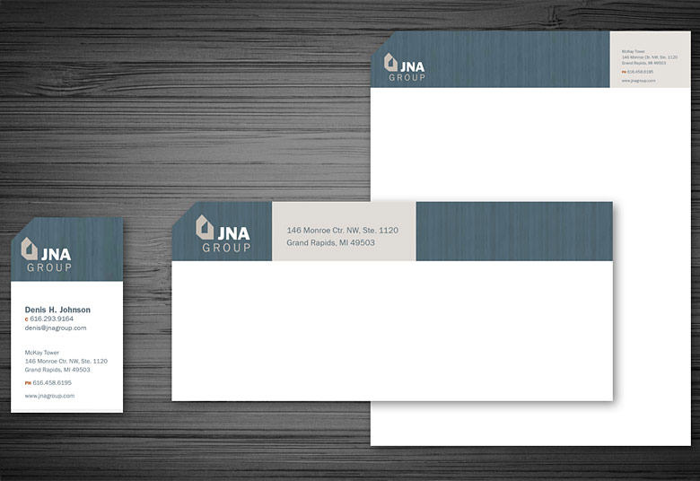 JNA Business Cards, Letterhead, and Envelope