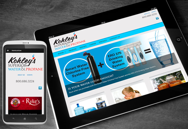 Kohleys Website for Tablet and Mobile