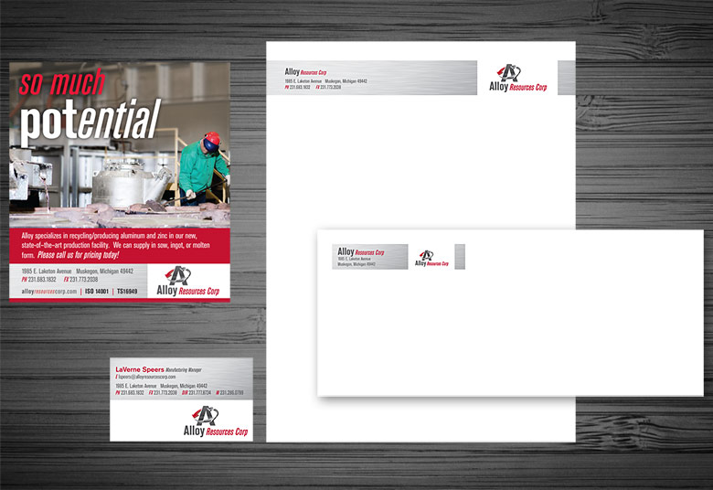 Alloy Resources Print Ads and Letterhead
