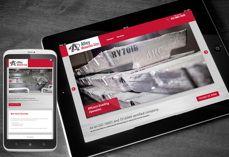 Alloy Resources Website for Tablet and Mobile