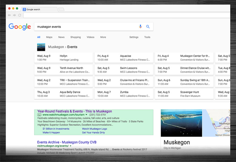 Watch Muskegon AdWords and SERP