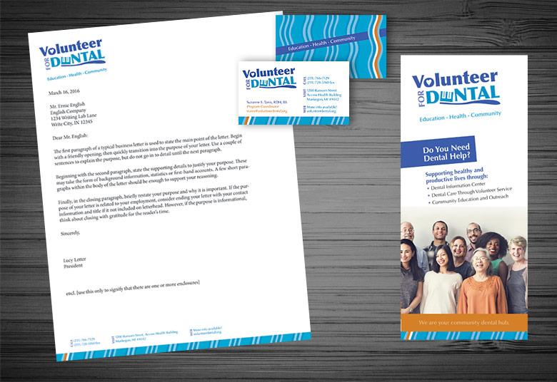 Letterhead, Business Cards, Brochure for Volunteer for Dental